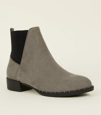 Grey Suedette Studded Sole Chelsea Boots by New Look