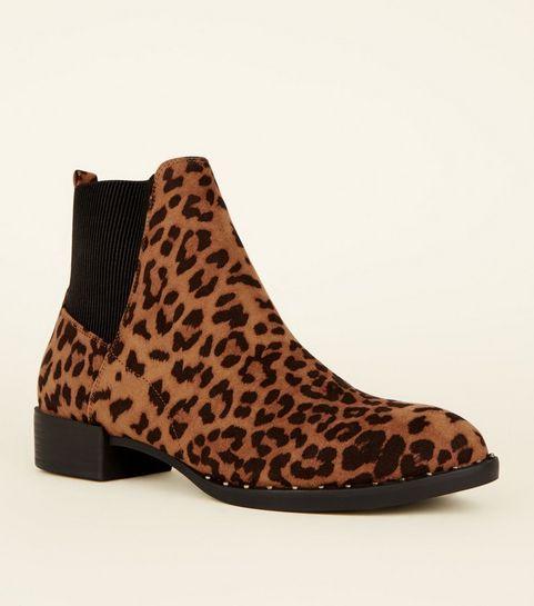 7f6075c14d ... Grey Leopard Print Stud Sole Western Boots ...