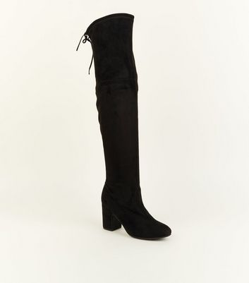 Black Suedette Over-The-Knee Lace-Up Heeled Boots