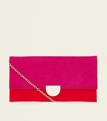Red and Pink Colour Block Metal Detail Clutch