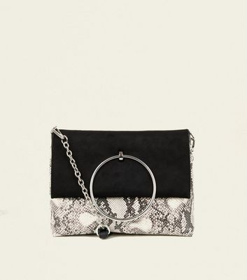 Black Faux Snake Ring Front Shoulder Bag