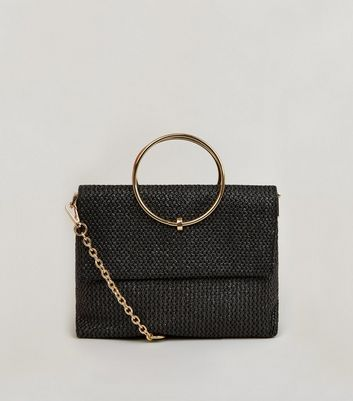 Black Straw Metal Handle Bag