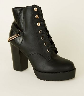 Black Lace-Up Chain Back Chunky Ankle Boots