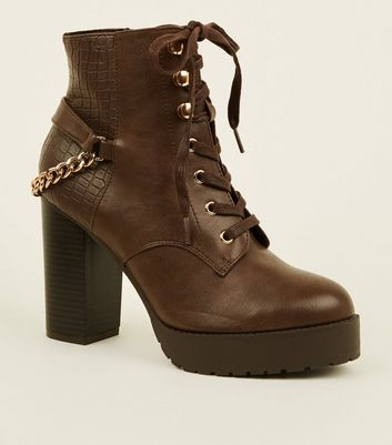 Rust Lace-Up Chain Back Chunky Ankle Boots
