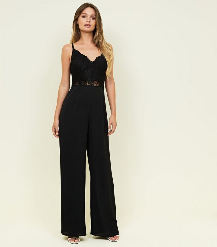 e7ea01e3bcd Black Lace Top Scallop Trim Jumpsuit
