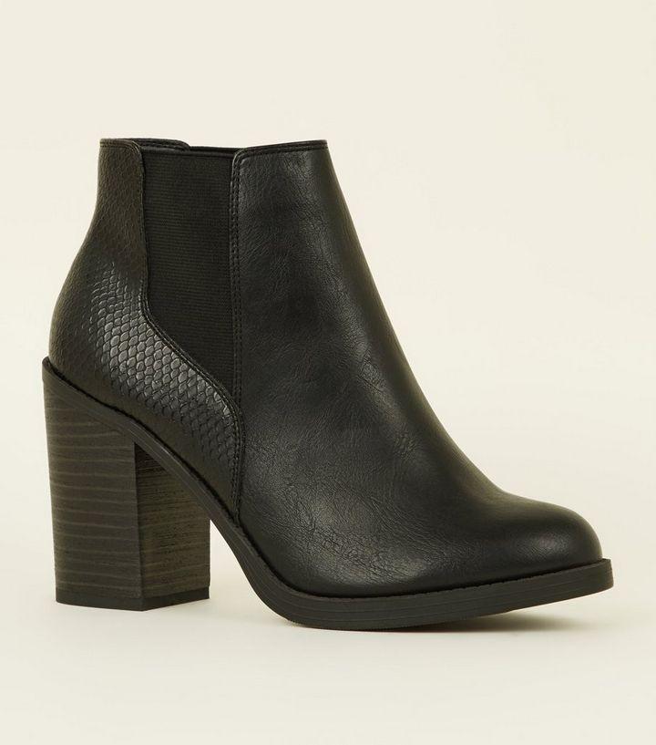 9945bd4f044 Black Faux Snakeskin Back Block Heel Boots