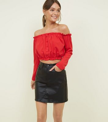 Red Button Front Bardot Crop Top