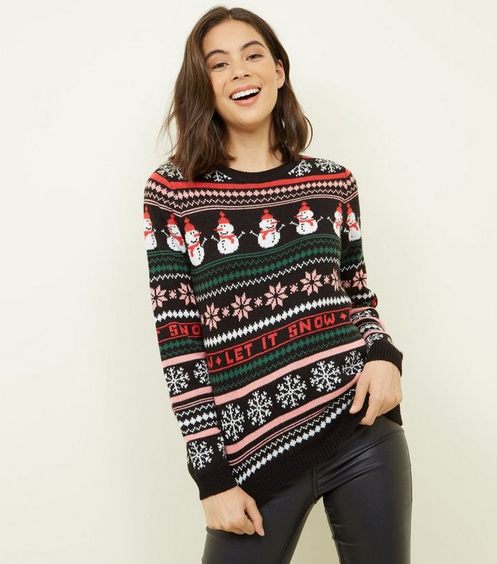 f6dc8db7dc7fc Black Fair Isle Knit Snowman Christmas Jumper | New Look
