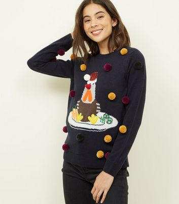 Navy Pom Pom Turkey Pattern Christmas Jumper