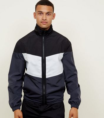 Black Colour Block Funnel Neck Jacket