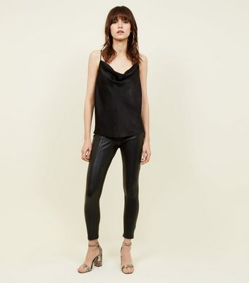 Black Coated Leather-Look Leggings