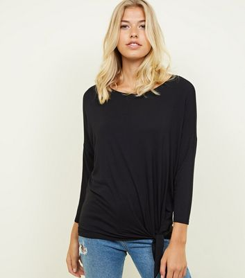 Black Tie Side 3/4 Sleeve Oversized Top
