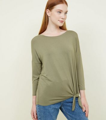 Khaki Tie Side 3/4 Sleeve Oversized Top