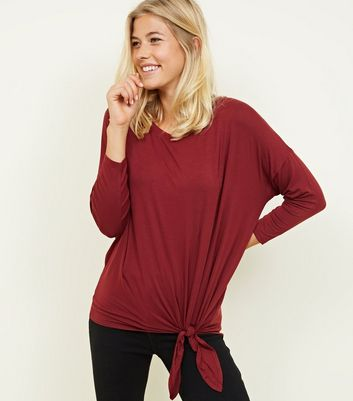 Burgundy Tie Side 3/4 Sleeve Oversized Top