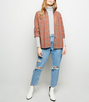 Petite Rust Check Oversized Cotton Shirt