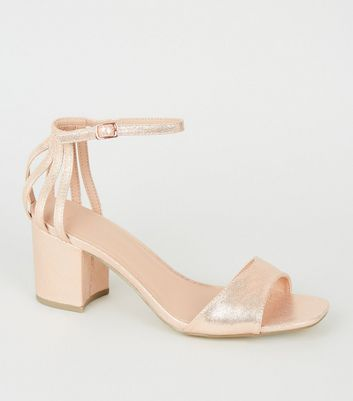 Wide Fit Rose Gold Caged Back Block Heels