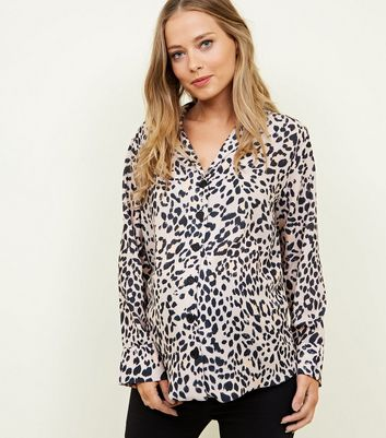 Maternity Brown Button Front Leopard Print Shirt