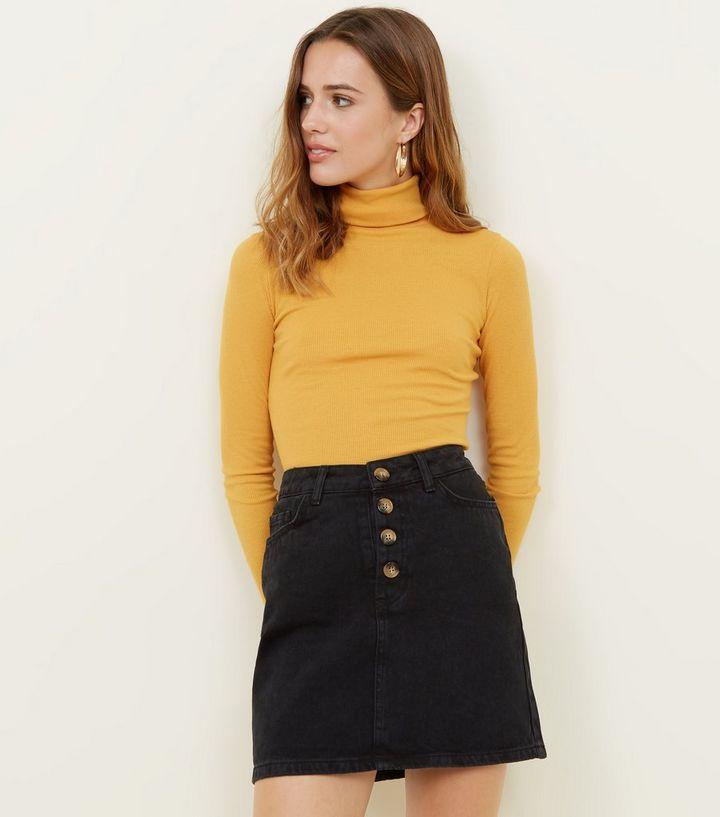 b4c10b0c64bb67 Black Button Placket High Waist Denim Mini Skirt   New Look