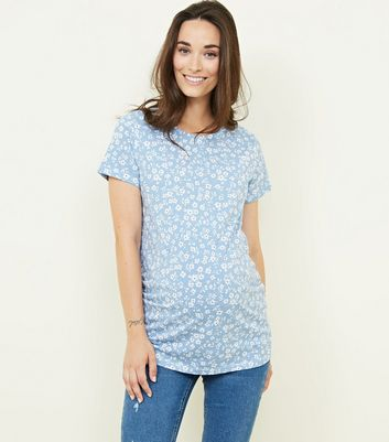 Maternity Blue Ditsy Floral T-Shirt