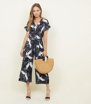 Navy Bird Print Wide Leg Jumpsuit