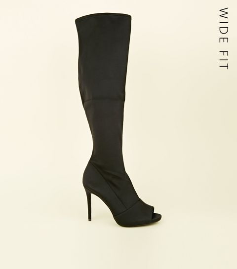 77dd9072760 ... Wide Fit Black Stretch Peep Toe Sock Boots ...