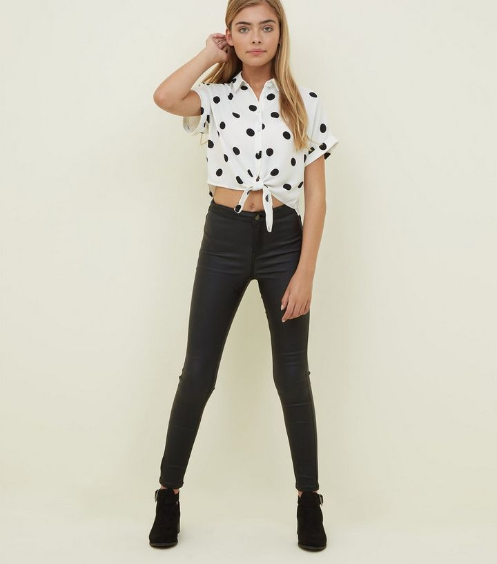 4bd3278a86813c ... Girls White Polka Dot Tie Front Shirt. ×. ×. ×. Shop the look