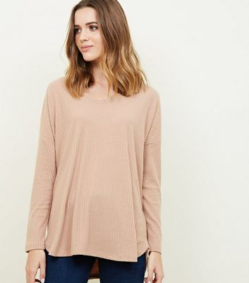Camel Ribbed Brushed Jersey Top