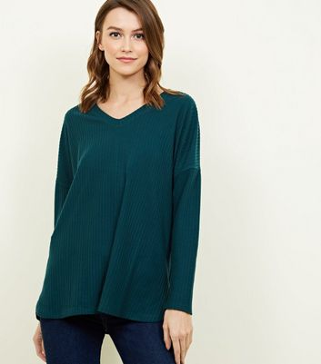 Dark Green Ribbed Brushed Jersey Top