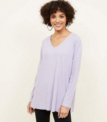 Lilac Ribbed Brushed Jersey Top