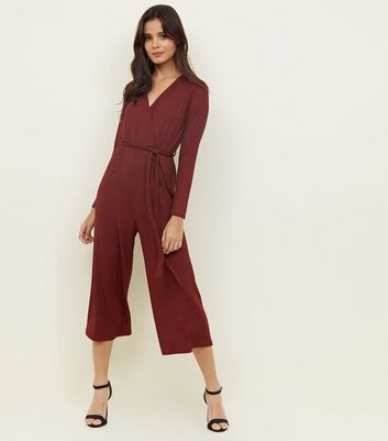 Burgundy Ribbed Long Sleeve Wrap Front Jumpsuit by New Look