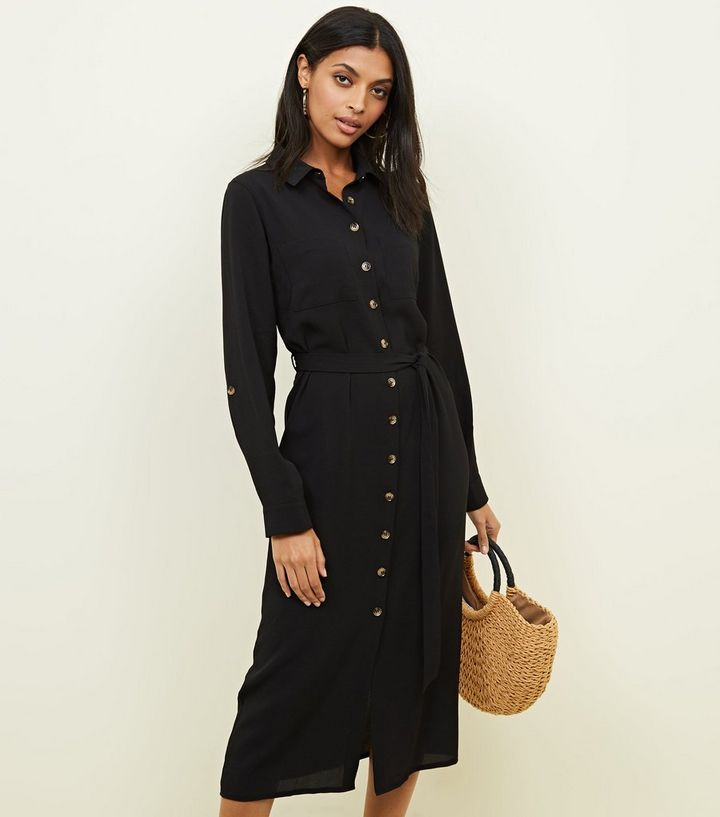 Black Button Down Midi Shirt Dress  8585c5c7e