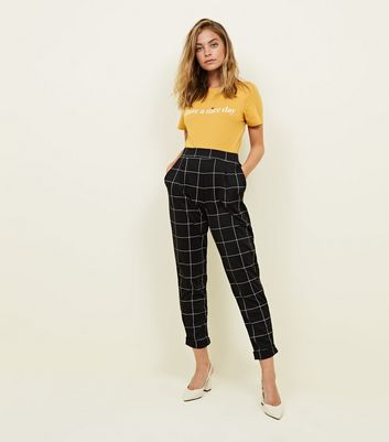 Petite Black Grid Check Trousers