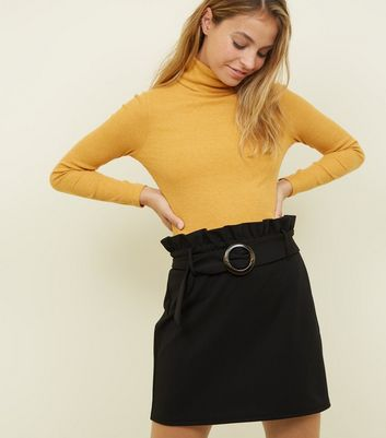Petite Black Circle Buckle Paperbag Mini Skirt