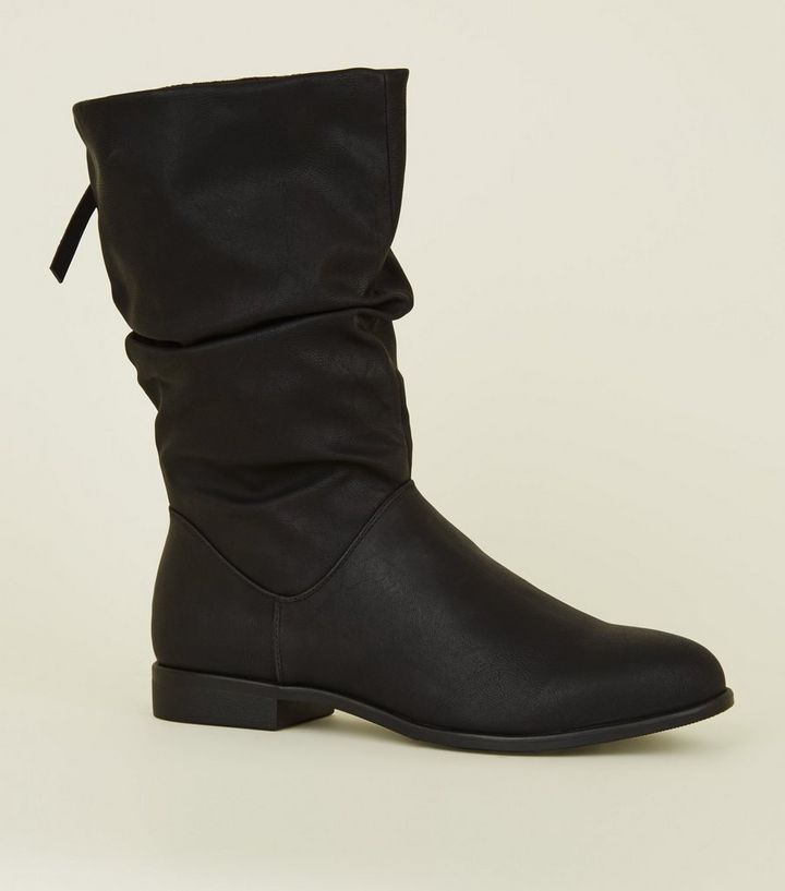 Black Leather Look Bow Back Flat Calf Boots New Look
