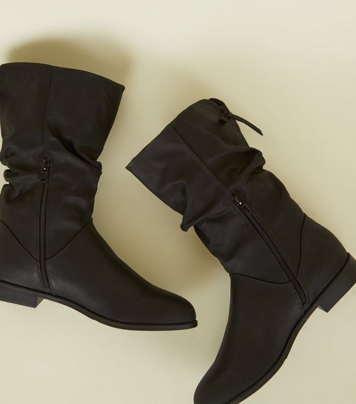 bb1bc7ae981 Black Leather-Look Bow Back Flat Calf Boots Add to Saved Items Remove from  Saved Items