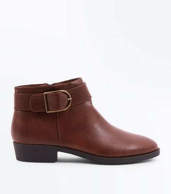 Tan Leather-Look Buckle Side Ankle Boots