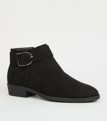 Black Suedette Buckle Side Ankle Boots
