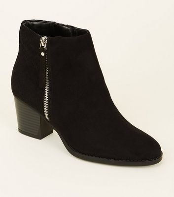 Wide Fit Black Suedette Laser Cut Ankle Boots