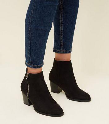 Black Suedette Laser Cut Ankle Boots