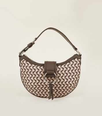 Brown Geometric Print Saddle Bag