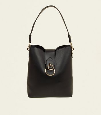 Black Ring Front Hobo Bag by New Look