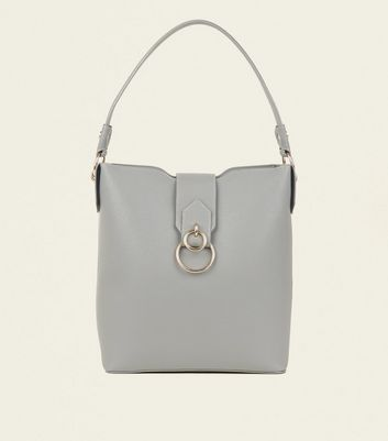 Grey Ring Front Hobo Bag