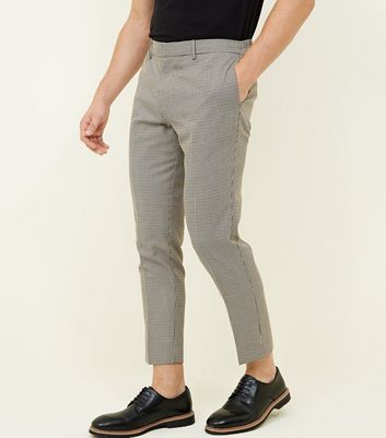 Stone Houndstooth Check Slim Fit Trousers