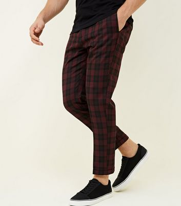 Burgundy Tartan Back Half Elasticated Waist Trousers New Look