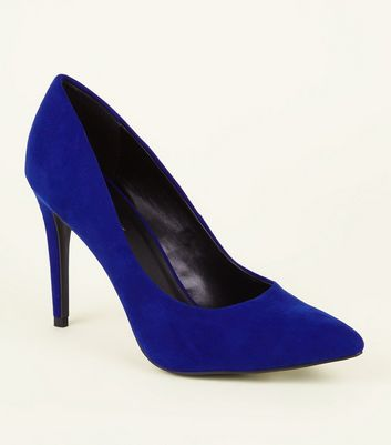 Bright Blue Suedette Pointed Court Shoes
