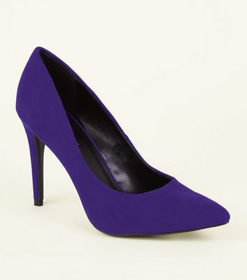Deep Purple Suedette Pointed Court Shoes
