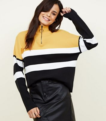 Yellow Colour Block Half Zip Jumper