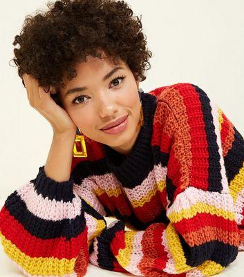 Pink Vanilla Multicoloured Stripe Fluffy Knit Jumper New Look