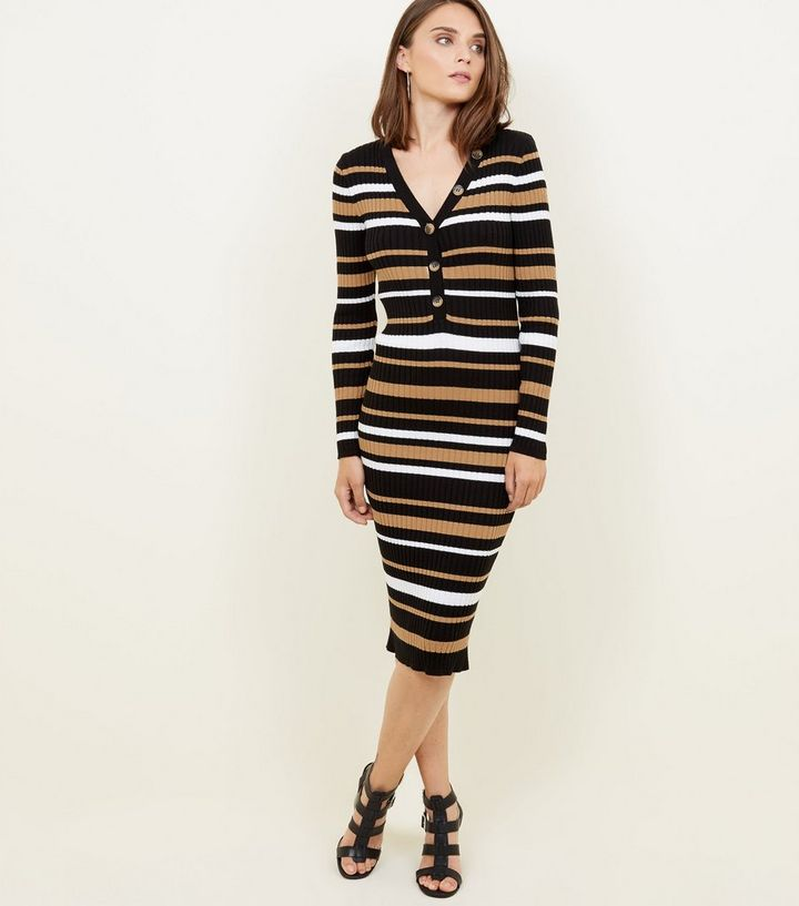 a0b40d1d31e3f Black Stripe Ribbed Button Front Bodycon Dress | New Look