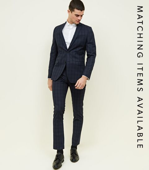 ... Navy Check Slim Fit Trousers ... c500f09c851